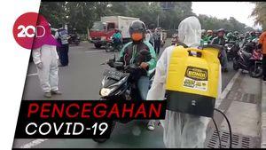 Driver Ojol di Jatim Disemprot Disinfektan