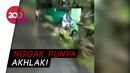 Jahat! Pemotor Dorong Pesepeda Hingga Masuk Got