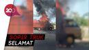 Truk Bermuatan Sampah Karet Terbakar di Tol Sidoarjo