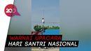 Santri Panjat Tiang Bendera saat Upacara di Gorontalo