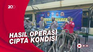 Polres Cilegon Sita 93 Knalpot Bising dan 8 Motor Bodong