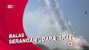 Detik-detik Puluhan Roket  Palestina Melintas di Langit Israel