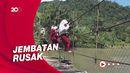 Tolong! Siswa di Sulbar Bergelantung di Tali Jembatan Demi ke Sekolah