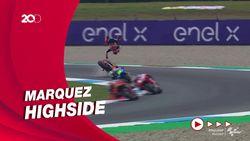 Detik-detik Marquez Kecelakaan Sampai Terbang di FP2 MotoGP Belanda