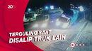 Terekam CCTV! Detik-detik Truk Oleng dan Terguling di Tasikmalaya